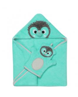 Ensemble bébé serviette et mitaine de bain hérisson (sac cadeau en prime)