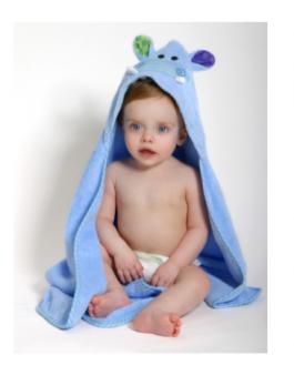 Ensemble bébé serviette et mitaine de bain hippopotame (sac cadeau en prime)