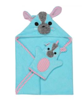 Ensemble bébé serviette et mitaine de bain yorkie (sac cadeau en prime)