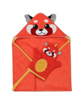Ensemble bébé serviette et mitaine de bain red panda (sac cadeau en prime)